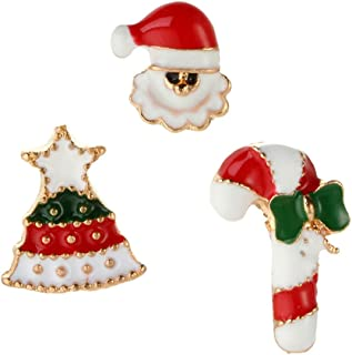 TIDOO Jewelry Multi-Colored Rhinestone Crystal Christmas Brooch Pin Set for Christmas Decorations Ornaments