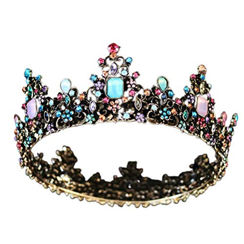 Minkissy Large Baroque Crown, Colorful Rhinestone Crystal Round Crown Vintage Bronze Alloy Tiara for Wedding Party Cosplay Birthday