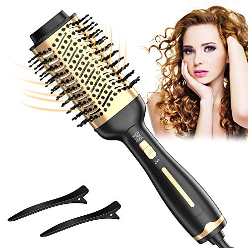 Hair Dryer Brush, One Step Hair Dryer & Volumizer & Styler for Straightening, Curling, Styling, Hot Air Brush with Salon Negative Ion Anti-Frizz Ceramic Coating for All Hair Types to Fast Drying
