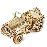 Maqueta Mecanica de Jeep Todo Terreno 4x4 en Madera Puzzle 3D Rompecabezas Corte Laser Modelo Ensamblar Niños Jovenes Adultos