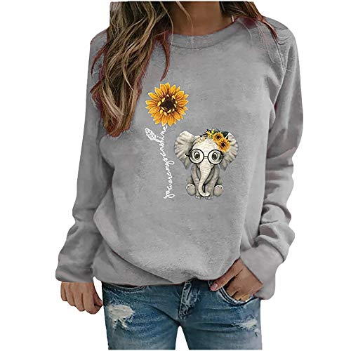 Portazai Sweatshirts for Women, Elephant Graphic Floral Print Casual Long Sleeve Pullover Tops Shirts Sweaters Gray