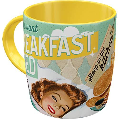 Nostalgic-Art 43005 Retro Kaffee-Becher Say it 50's - Breakfast in Bed, Lustige große Tasse mit Spruch, Geschenk-Idee für Vintage-Liebhaber, 330 ml