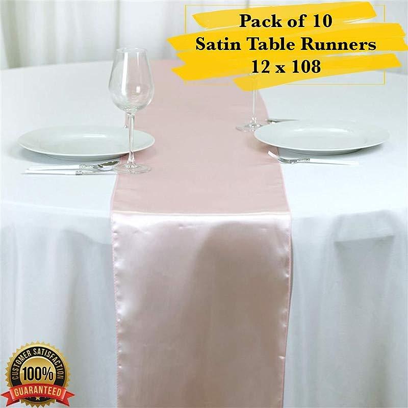PrimeLyne 12 X 108 Satin Table Runner Wedding Satin Table Runners Pack Of 10 Blush