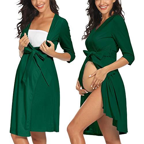 FABRACK Women's Maternity Robe Pregnancy Sleepwear Hospital Labor Delivery Dress Breastfeeding Nursing Gown(Hunter Green, Large)