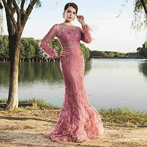 BINGQZ Vestito Cocktail/Abito da Cerimonia Elegante da Sera da Donna Lungo con Perline sul Retro con Scollo a Barchetta a Sirena da Ballo
