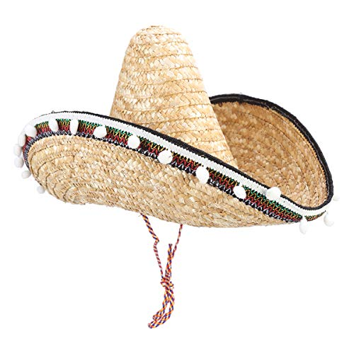Amosfun Mexicaanse Sombrero Hoed Straw Hoed met Pompom Hawaiiaanse Stijl Dressing up Props Feestartikelen 20CM (Graskleur)