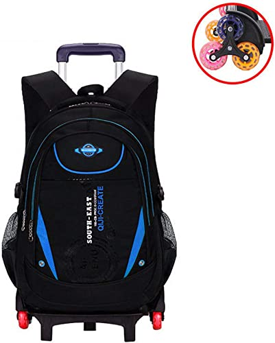 CAR SHUN Trolley Schule Taschen Rucksack Für Jungen mädchen Mit Sechs R rn Klettern Treppe Wasserdichten Rucksack