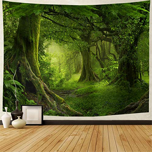 Tushelia Forest Tapestry Nature Tree Cave Tapestry Wall Hanging Misty Forest Tapestry Stream Through Rainforest Tapestry Landscape Wall Tapestry Jungle Creek Psychedelic Tapestry for Living Room