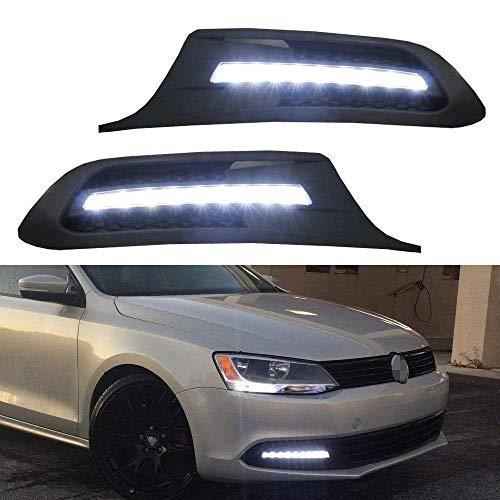 iJDMTOY Xenon White LED Daytime Running Lights Compatible With Volkswagen: 2011-2014 MK6 Jetta, OEM Fit DRL Bezel Assembly Powered by (9) High Power LED Lights Each Lamp