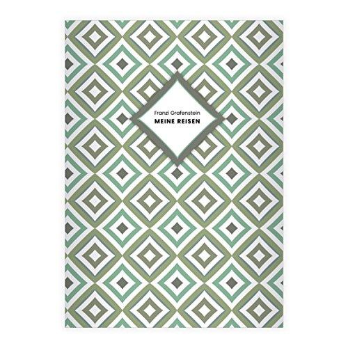 Kartenkaufrausch 16 gepersonaliseerde, elegante grafische DIN A5 schoolschrift, schrijfschrift met diamanten ruiten in groen liniatuur 4 (gelinieerd boekje)