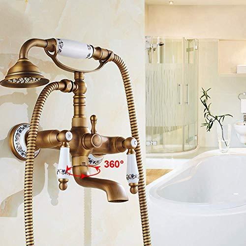 WECDS Sistema de ducha montado en la pared grifo de baño y ducha latón antiguo doble mango agujeros con relleno de bañera y grifo de estilo teléfono frío