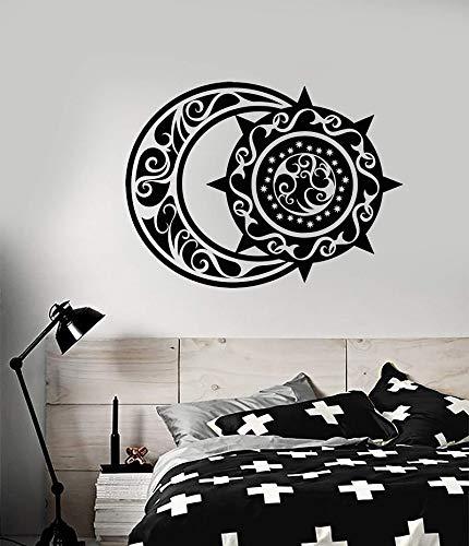 zqyjhkou Vinyl wandtattoos ethnischen Stil halbmond und Sonne Schlafzimmer Wohnzimmer wohnkultur kunstwand tapete 84x63 cm