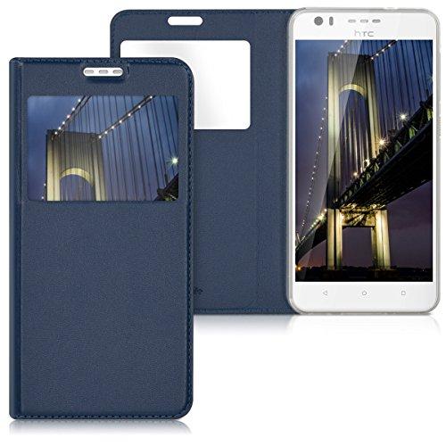 kwmobile HTC Desire 10 Lifestyle Hülle - Handyhülle für HTC Desire 10 Lifestyle - Dunkelblau - Handy Case Schutzhülle Klapphülle