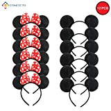 Comfecto 12 Pcs Mickey Minnie Headband Mouse Ears for Boy Girl Birthday Party Celebration, Black Red Bow