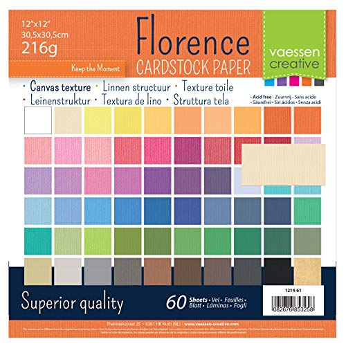 Vaessen Creative Cardstock Canvas Texture Scrapbook Paper, Paper, Multi-Colour, 30.5 x 30.5 cm, 60 Sheets