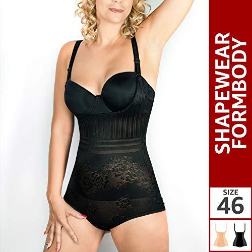 RIEMTEX Shapewear Damen Formbody Figurformender Body Shaper Bauchweg Unterwäsche Miederbody Schwarz oder Beige (46, Schwarz)