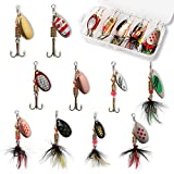 10pcs Fishing Lure Spinnerbait, Bass Trout Salmon Hard Metal Spinner Baits Kit with Tackle Boxes