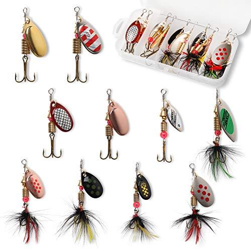 10pcs Fishing Lure Spinnerbait, Bass Trout Salmon Hard Metal...