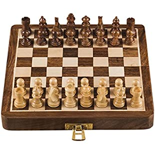 Rusticity Wooden Foldable Magnetic Chess Set | Handmade | (7 inches):Diet-beauty