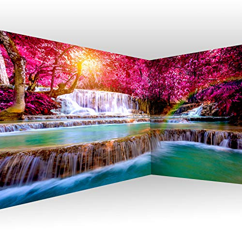 murando Eckfototapete Wasserfall 550x250 cm Vlies Tapeten Wandtapete XXL Moderne Wanddeko Design Wand Dekoration Wohnzimmer Schlafzimmer Büro Flur Natur Sonne Wald c-B-0474-a-a