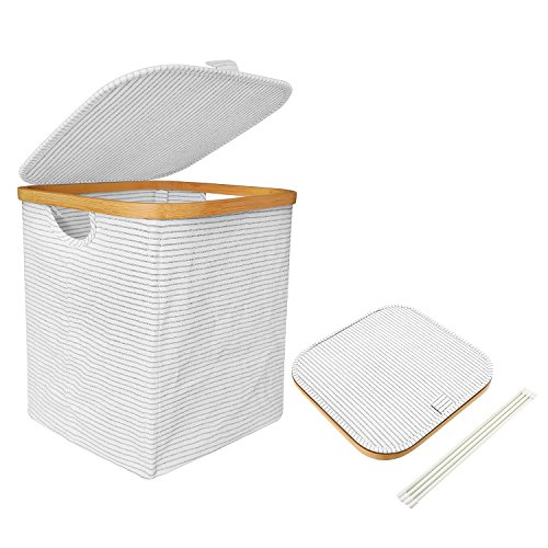 Mr.do Wäschekorb mit Deckel Aufbewahrungskorb Korb Baumwolle Wäschebox Wäschesammler Bambus Rahmen Schwarz Weiß Streifen 41L