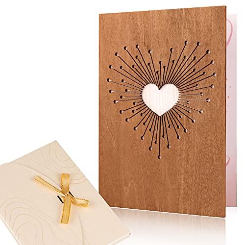 Creawoo handgemachte Holz Liebe Karte, beschreibbare Liebe Grußkarte für alle Gelegenheiten, Idee Geburtstagskarte, Hochzeitskarte, Jahrestag Karte, Geschenkkarte, Einladungskarte, Valentinstag Karte