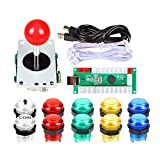 Fosiya 1 giocatore USB Encoder a PC Arcade Joystick Rosso Top Ball + 10 x 5 V LED Arcade Pulsanti per PC Arcade Giochi Mame Raspberry Pi
