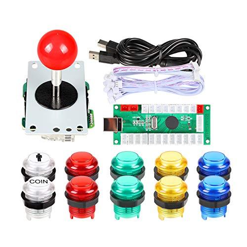 Fosiya 1 Player USB Encoder to PC Arcade Joystick Red Top Ball + 10x 5V LED Arcade Buttons for Arcade PC Games Mame Raspberry Pi
