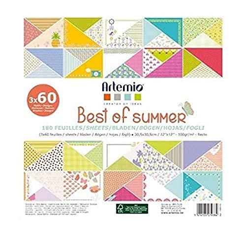 Artemio Best of Summer Set di 180 Fogli per Scrapbooking, Carta, Multicolore, 30,5 x 2,3 x 30,5 cm