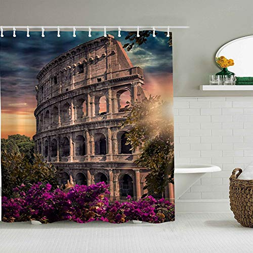 ALLMILL Shower Curtain Italy Historic Landmark Ancient Rome Colosseum Famous Architecture Waterproof Bath Curtains Hooks Included - 72 x 72 inches Bathroom Decorative Ideas
