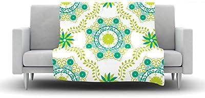 Kess InHouse Julia Grifol Soft Mandalas Green Yellow Fleece Throw Blanket 60 by 50