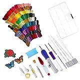 HEALLILY Kit de bordado de aguja de perforación Magic Embroidery Pen Set de aguja de perforación con hilos para bordado de arranque 136 piezas