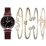 Reloj De Pulsera De Cuarzo para Mujer Reloj con Imán De Cielo Estrellado Juego De Regalo Impermeable Reloj En Caja + Pulsera Rojo