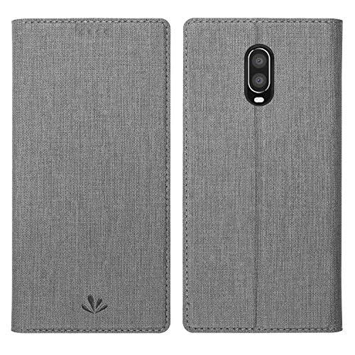 Simicoo OnePlus 6T Leder Tasche Flip Handyhülle Standfunktion Kartenfach Magnetverschluß Card Holder kristallklarer TPU Sleep Wake up Wallet Schutzhülle für OnePlus 6T One Plus 6T 1+6T (Grey)