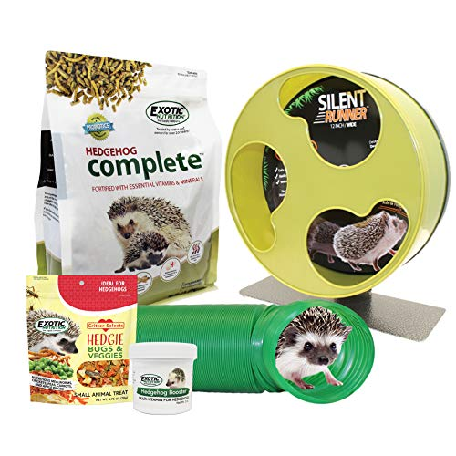 Exotic Nutrition Starter Package for Hedgehogs - Includes Exercise Wheel, Healthy Food, Natural Treat, Multi-Vitamin & Nest Pouch