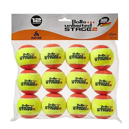 Balls ... unlimited Stage 2 Palle Illimitato Fase 2 (Arancione) Palle per Bambini, Palle da Allenamento 50% a Pressione ridotta, metodo Palle - Confezione da 12