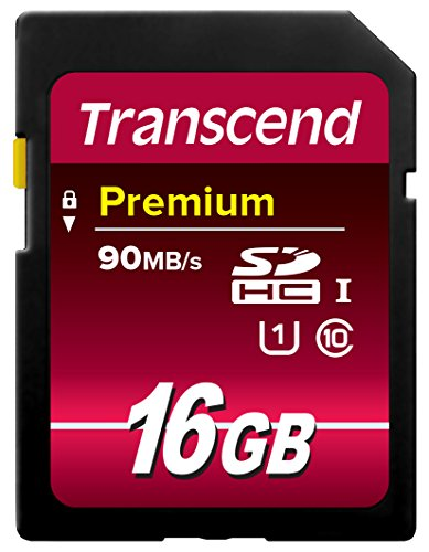 Transcend 16GB SDHC Class 10 UHS-1 Flash Memory Card Up to 45MB/s (TS16GSDU1E)