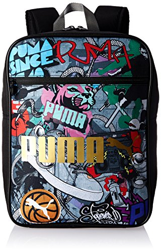 PUMA Rucksack Campus Backpack Black/Graffiti, 21.8 x 12.5 x 39 cm, 12 Liter