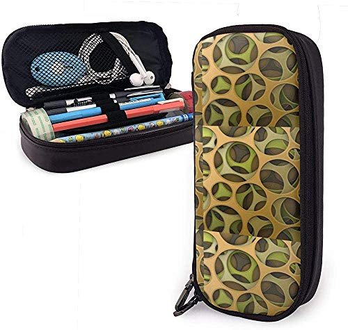 Durable Leather Pencil Case Cyber Camouflage Multifunction Cosmetic Bag Pencil Pouch Stationery Organizer