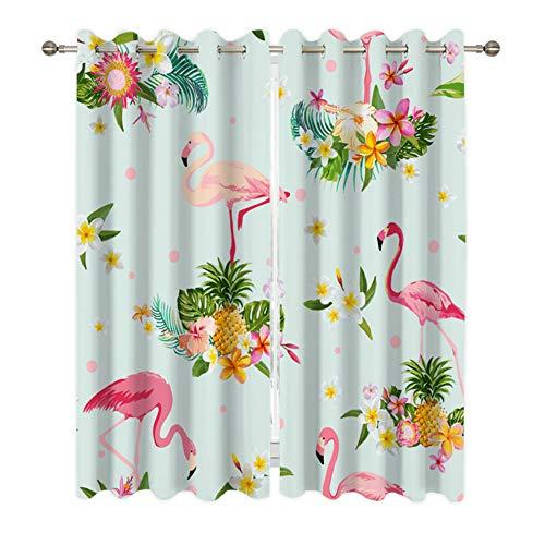 AYMAYO Blickdicht Vorhang Ösen Gardine Flamingo Bedruckt Verdunklungsgardinen,Kinder Vorhänge Schlafzimmer Dekoschals Gardine, 175 cm X 140 cm, 2-Stück (A,245 x 140cm)