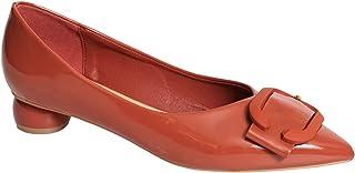 Womens Court Shoes Low Block Heel Buckle Patent Leather Ballerina Pumps