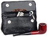 astuccio porta pipa in pelle e porta tabacco (black)