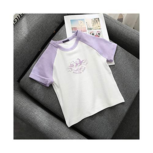 LLZY Chicas Delgadas Suaves algodón Tshirts Camisetas de Moda de Verano Damas Dulces Tops Cortos Casuales Hembra Linda Bomba Camisetas Femenino Chic (Color : Púrpura, Talla : One Size)