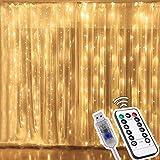 3Mx3M Cortina de Luces Navidad, 300 LEDs Luz Cadena Resistente al Agua, 8 Modos de Luz Cadena USB Luces LED con Mando a Distancia, Guirnaldas luminosas para Decoración Ventana Fiestas (Blanca Cálida)