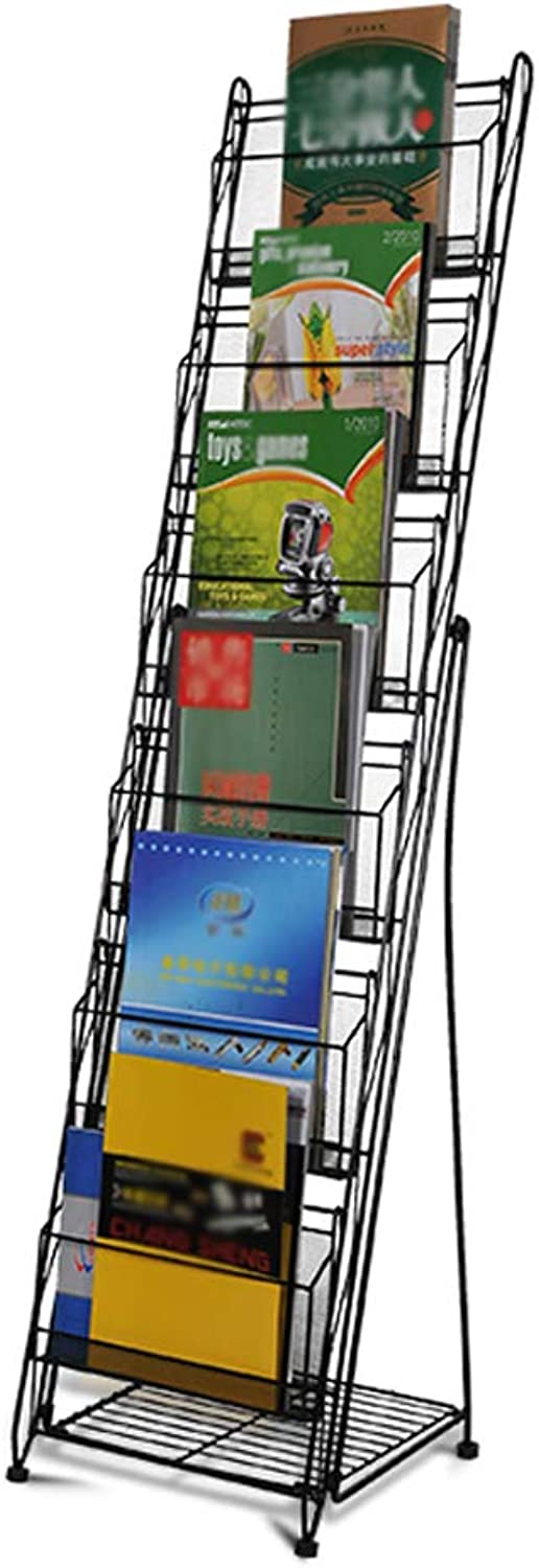 Brochure Display Rack Painted Wrought Iron A4 Information Newspaper and Magazine Rack - Floor Type 6 Layers Detachable Black