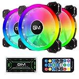GIM KB-23 RGB Ventiladores de caja, paquete de 3 ventiladores silenciosos de 120 mm para PC, placa base direccionable ARGB de ritmo musical de 5 V, controlador SYNC / RC, ajustable con concentrador