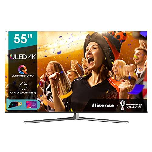 "Hisense 55"" ULED 4K 2021 55U88GQ, Quantum Dot IPS, Smart TV VIDAA 5.0, HDR Dolby Vision IQ, Audio 2.1.2 60W Dolby Atmos, Controlli vocali Alexa / Google Assistant, Tuner DVB-T2/S2 HEVC 10, lativù 4K"
