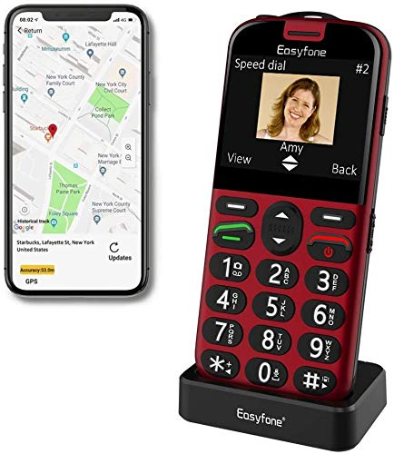 Easyfone Prime-A4 Smart Seniorenhandy ohne Vertrag (mit SOS-Funktion, GPS, Farbdisplay 2,31 Zoll, Mobiltelefon mit extra großen Einzeltasten und Tischladestationzur einfachen Bedienung) (A4 Rot)
