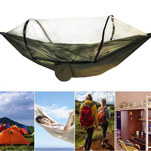 FOLOSAFENAR Silla de Hamaca para Acampar ylon Hamaca de Tela de paracaídas para Exteriores, para Acampar al Aire Libre(Army Green)