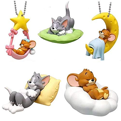 5Pcs Tom and Jerry Cake Topper Birthday Cake Cupcake Toppers Decorations, Tom and Jerry Doll Pvc Toys Cake Top Decoration Children Birthday Party Supplies.